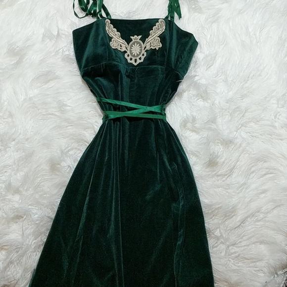 Vintage Dresses   70s Green Velvet Gown Or Prom Dress   Poshmark